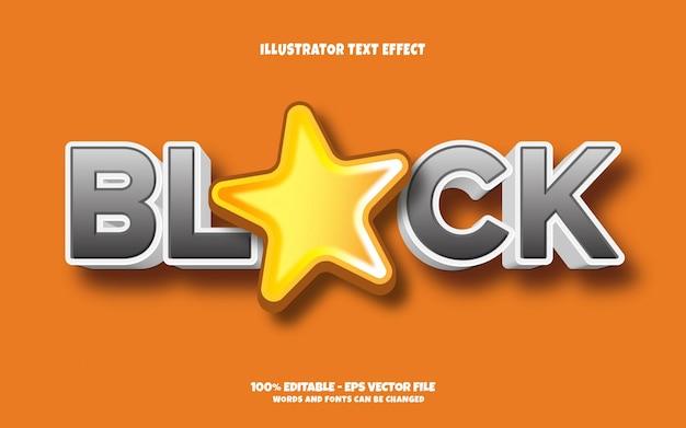 Efeito de texto editável, ilustrações de estilo de estrela negra