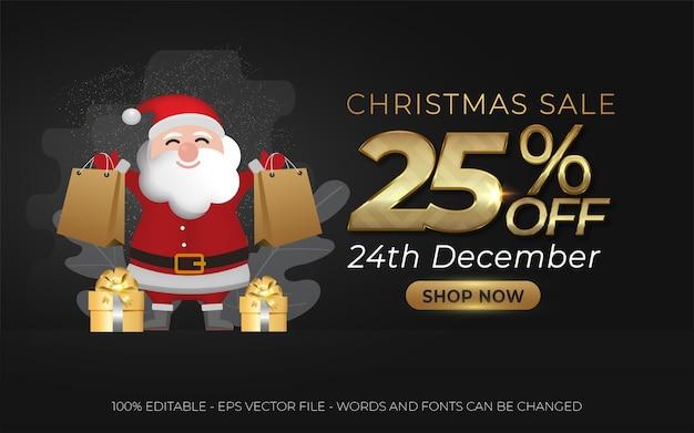 Efeito de texto editável, ilustrações de estilo de venda de natal