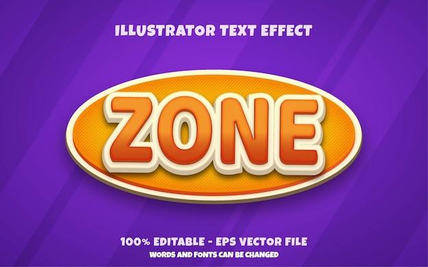 Efeito de texto editável, ilustrações de estilo de zona