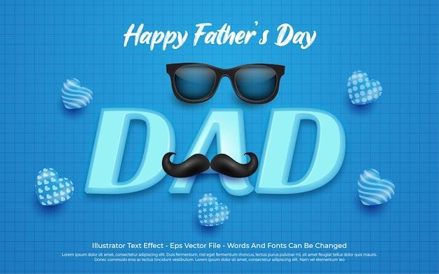 Efeito de texto editável, ilustrações de estilo feliz do dia dos pais