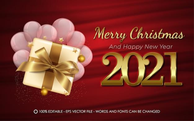 Efeito de texto editável, ilustrações de estilo feliz natal