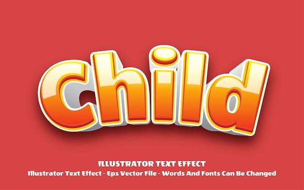 Efeito de texto editável, ilustrações de estilo infantil