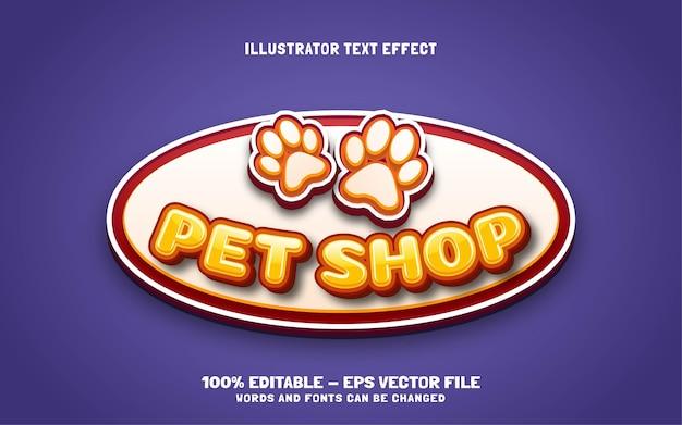 Efeito de texto editável, ilustrações de estilo pet shop