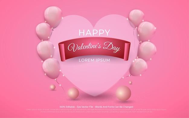 Efeito de texto editável, ilustrações de happy valentine's background love e balão