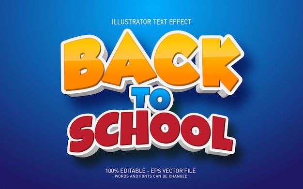 Efeito de texto editável, ilustrações de volta às aulas