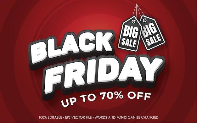 Efeito de texto editável, ilustrações do estilo black friday big sale