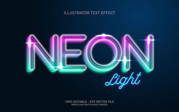 Efeito de texto editável, ilustrações do estilo neon light
