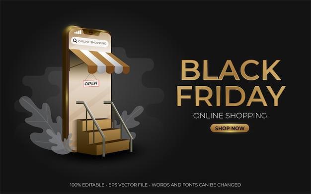 Efeito de texto editável, ilustrações douradas do black friday online shopping