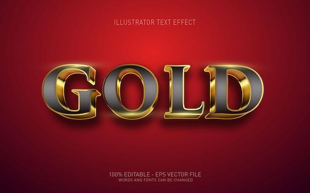 Efeito de texto editável, ilustrações em estilo 3d em ouro