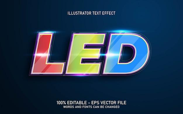 Efeito de texto editável, ilustrações em estilo de vidro led