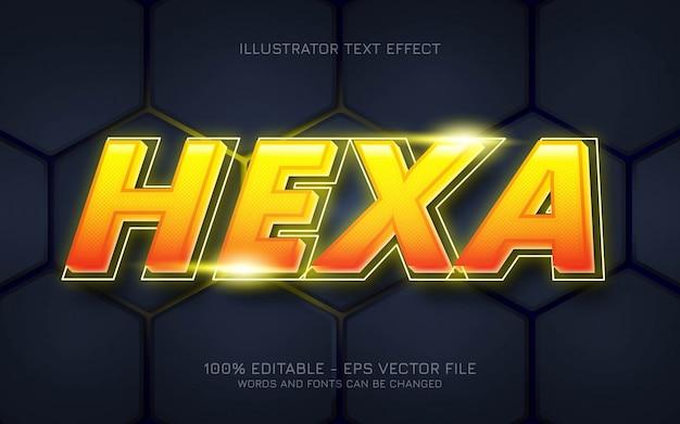 Efeito de texto editável, ilustrações em estilo hexa