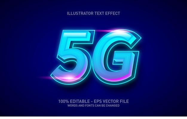Efeito de texto editável, ilustrações em estilo neon 5g