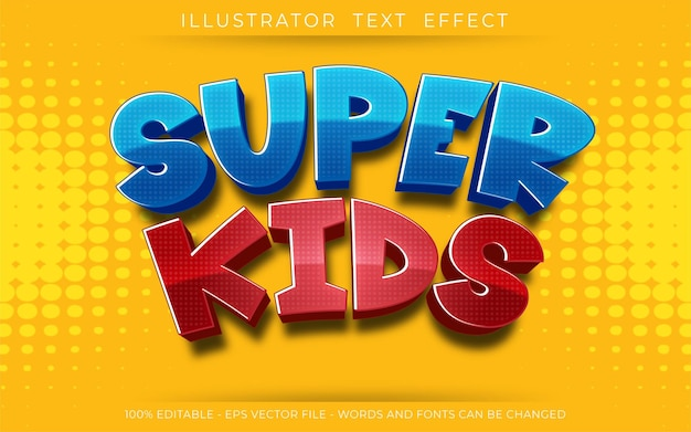 Efeito de texto editável, ilustrações em estilo super kids 3d