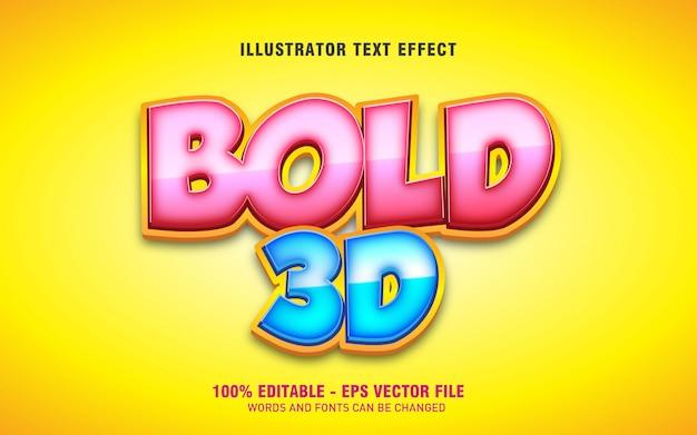 Efeito de texto editável, ilustrações em negrito estilo 3d