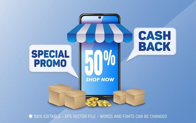 Efeito de texto editável, ilustrações especiais de estilo promocional em dinheiro de volta