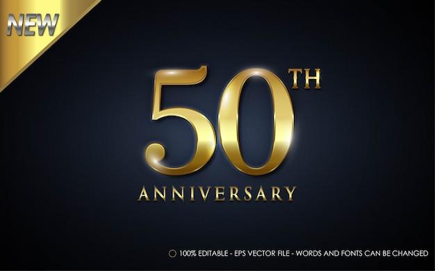 Efeito de texto editável, ilustrações estilo 50º aniversário