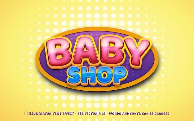 Efeito de texto editável, ilustrações estilo baby shop