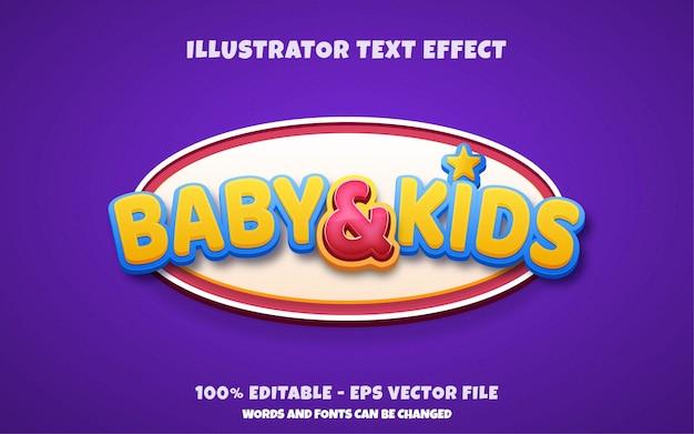 Efeito de texto editável, ilustrações estilo bebê e infantil