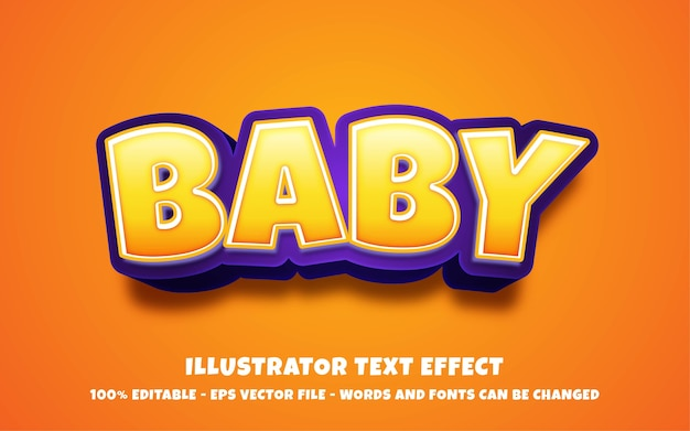 Efeito de texto editável, ilustrações estilo bebê