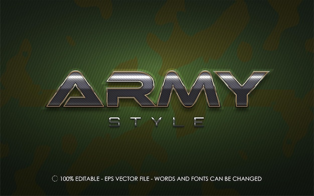 Efeito de texto editável, ilustrações estilo exército Vetor Premium