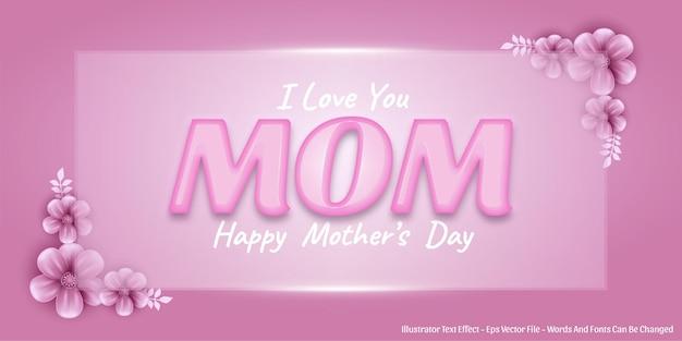 Efeito de texto editável, ilustrações estilo feliz dia das mães