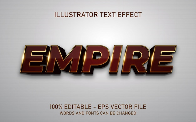 Efeito de texto editável, ilustrações estilo império