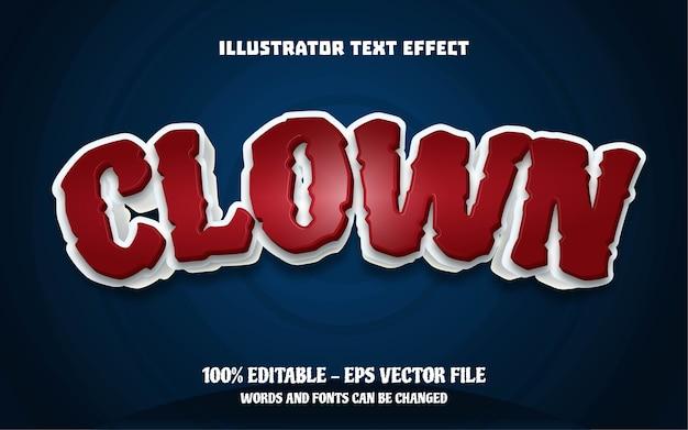 Efeito de texto editável, ilustrações estilo palhaço