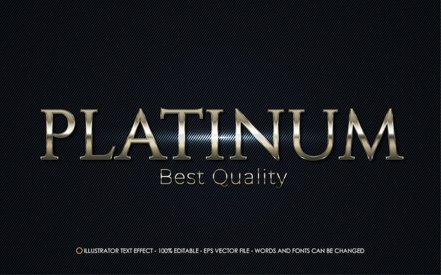 Efeito de texto editável, ilustrações estilo platinum