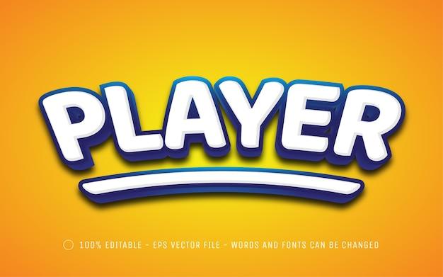 Efeito de texto editável, ilustrações estilo player