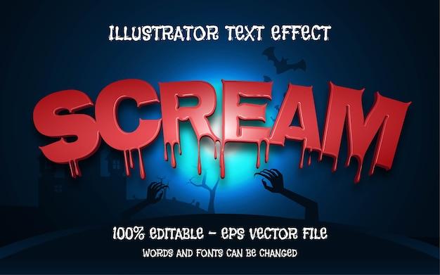Efeito de texto editável, ilustrações estilo scream