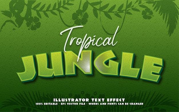 Efeito de texto editável, ilustrações estilo tropical jungle