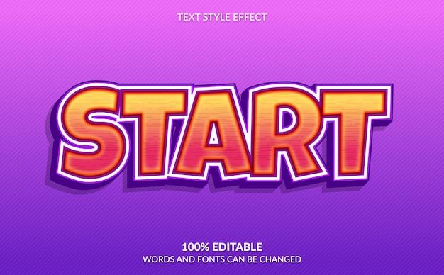 Efeito de texto editável, iniciar, estilo de texto de videogame