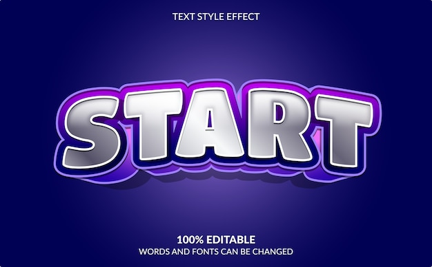 Efeito de texto editável, início, estilo de texto de videogame