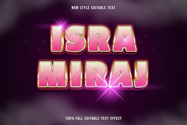 Efeito de texto editável isra miraj rosa
