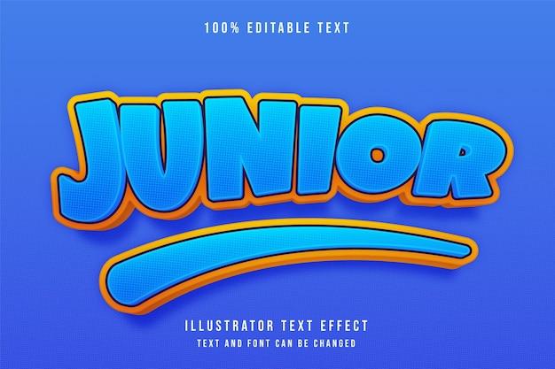 Efeito de texto editável junior3d azul gradação amarelo estilo de sombra moderno
