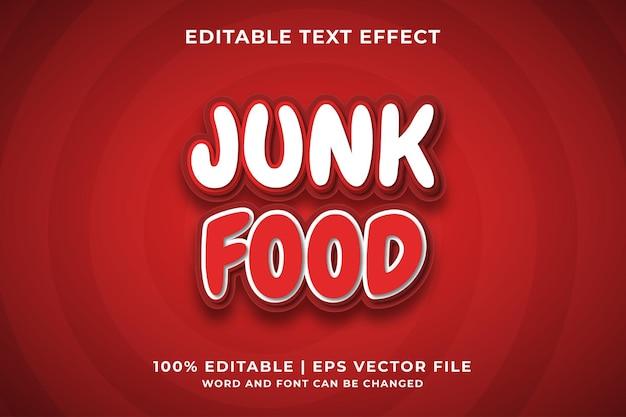 Efeito de texto editável - junk food 3d template style premium vector