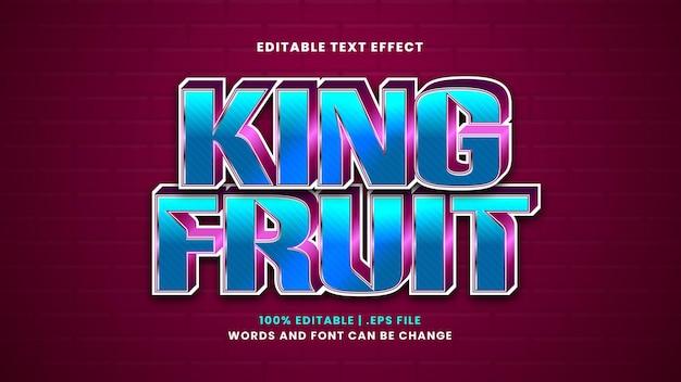 Efeito de texto editável king fruit em estilo 3d moderno