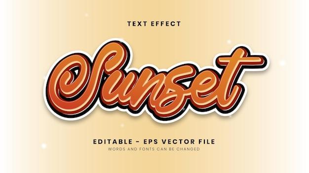 Efeito de texto editável laranja pôr do sol