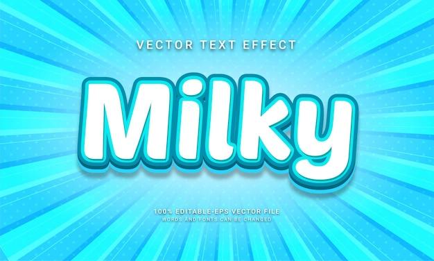 Efeito de texto editável leitoso com tema de bebida doce