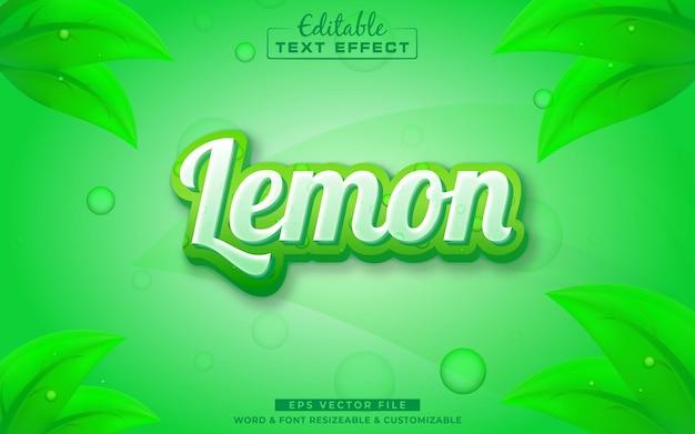 Efeito de texto editável lemon 3d