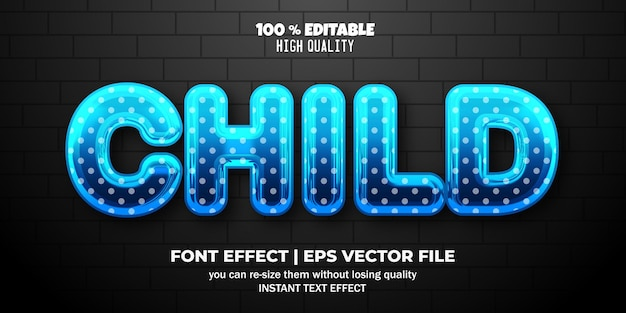 Efeito de texto editável líquido infantil 3d