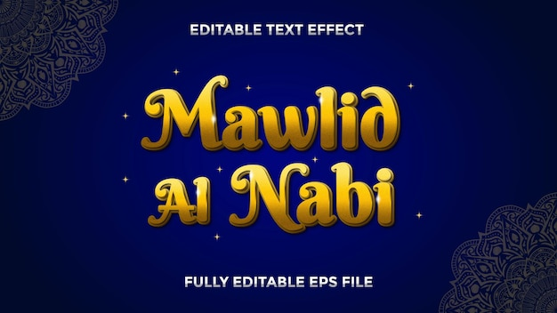 Efeito de texto editável mawlid al nabi