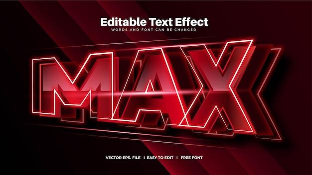 Efeito de texto editável máximo em negrito vermelho