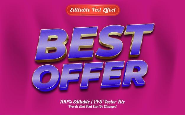 Efeito de texto editável, melhor estilo de modelo de oferta