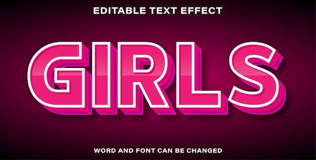 Efeito de texto editável - meninas