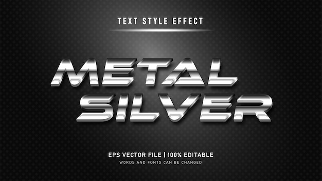 Efeito de texto editável. metal prata efeito de estilo de texto 3d.