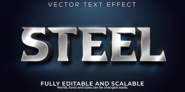 Efeito de texto editável metálico, estilo de texto de ferro e prata