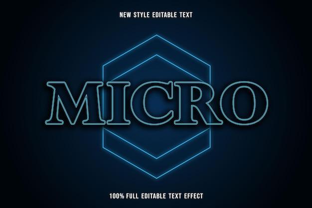 Efeito de texto editável micro cor azul e preto