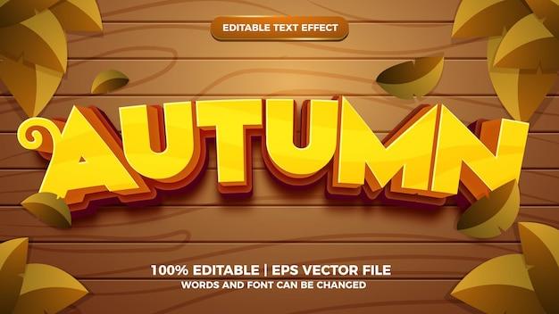 Efeito de texto editável - modelo 3d de estilo cartoon de outono