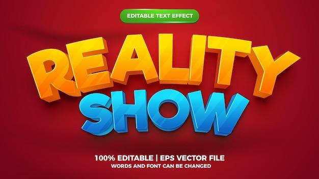 Efeito de texto editável - modelo 3d de estilo cartoon de reality show